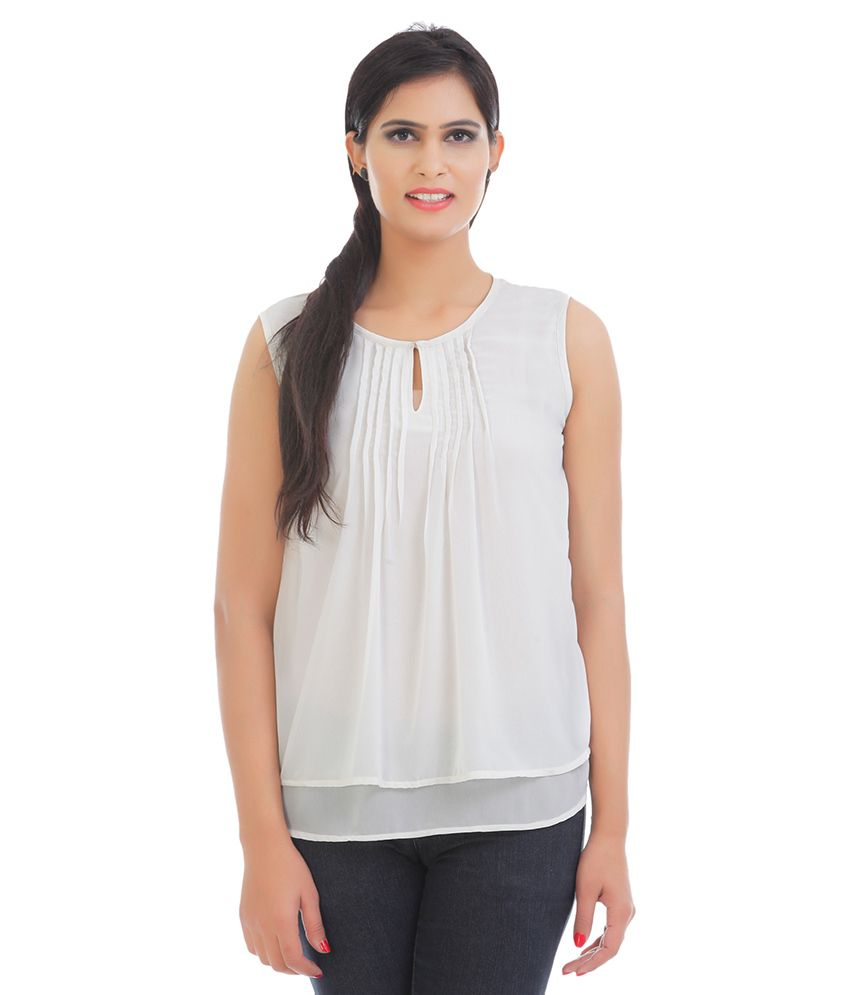 42a2cd22748 Vaak White Polyester Tops - Buy Vaak White Polyester Tops Online at Best  Prices in India on Snapdeal