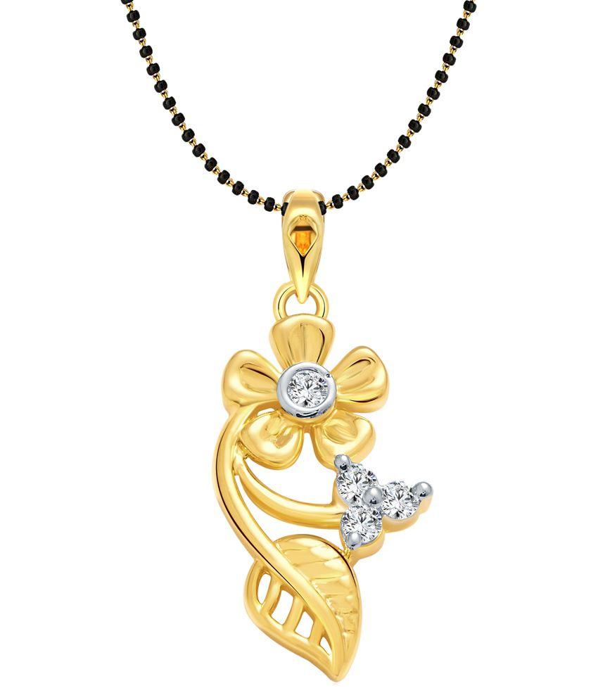 Vighnaharta  Alloy 24 kt Gold Plating Cubiz Zirconia Studded Gold Coloured Mangalsutra