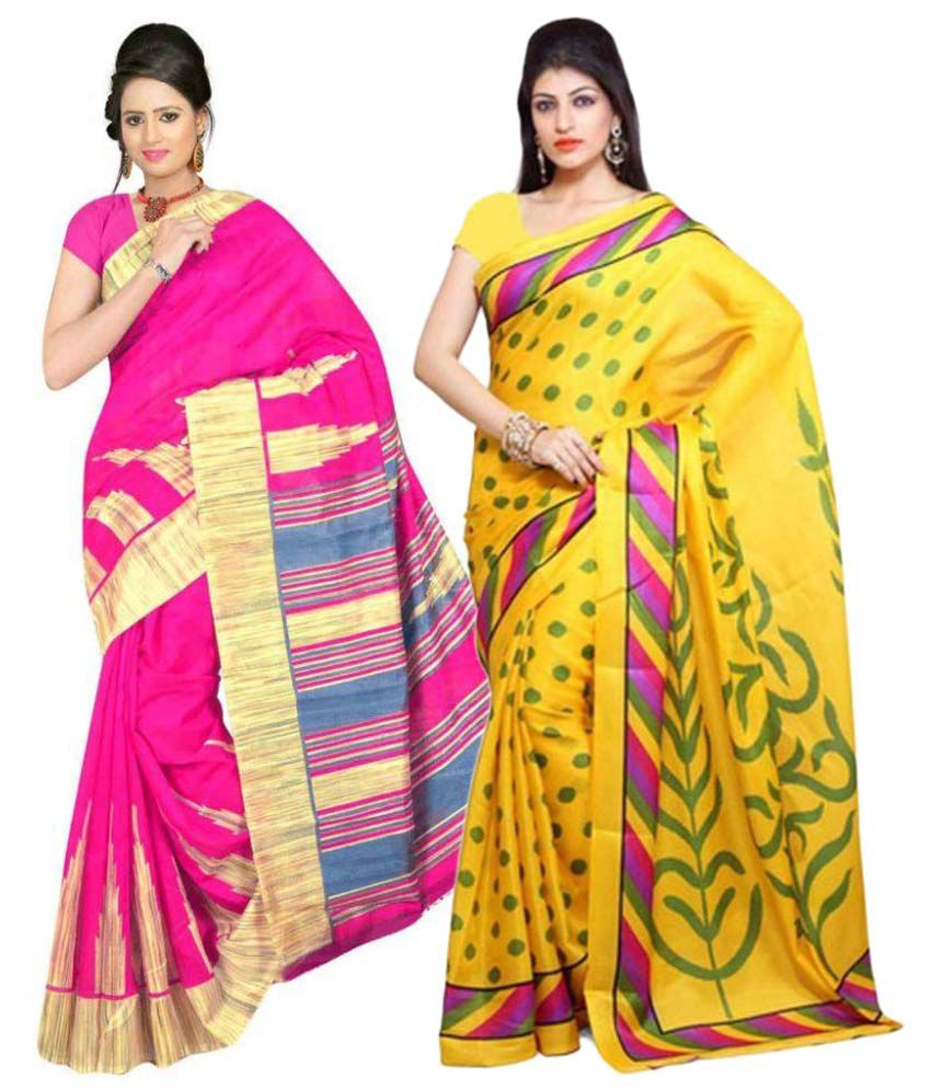 Kamdhenu Fabrics Multi Color Art Silk Saree Combos
