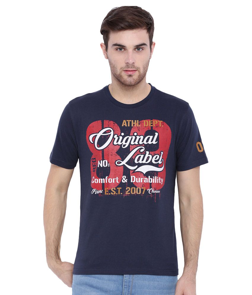 Difference of Opinion Navy Round T Shirt