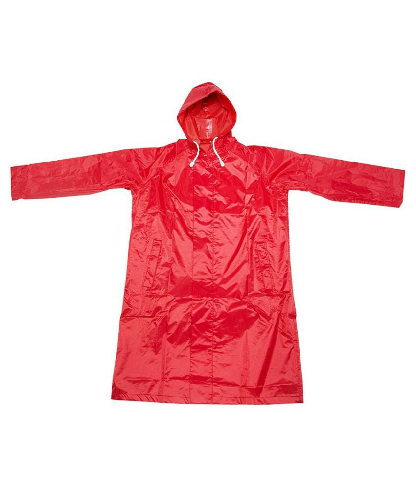 Inside Fashion Red Viscose Hooded Rainwear