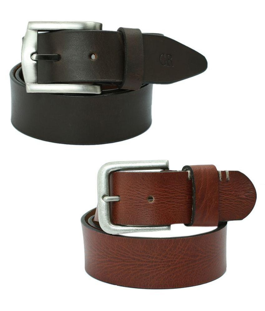 Aspro Leder Multicolour Leather Belt for Men - Set of 2