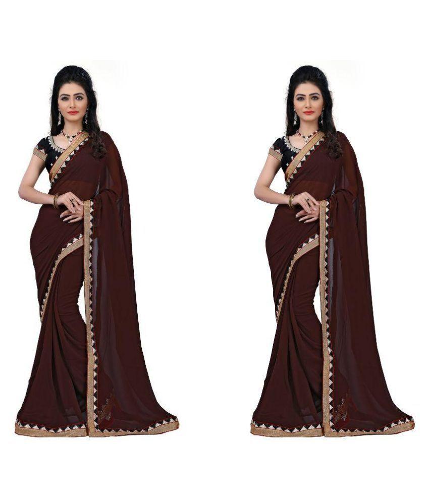 Bhavya Trendz Brown Chiffon Saree Combos