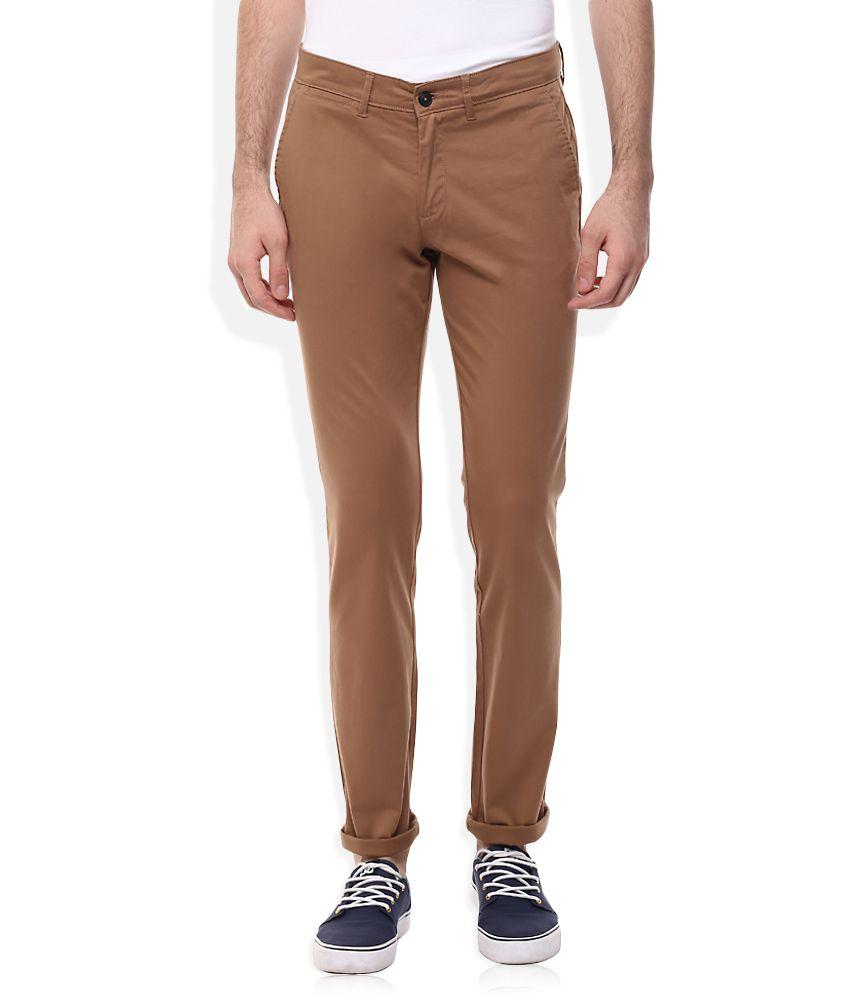 Celio Brown Regular Fit Trousers