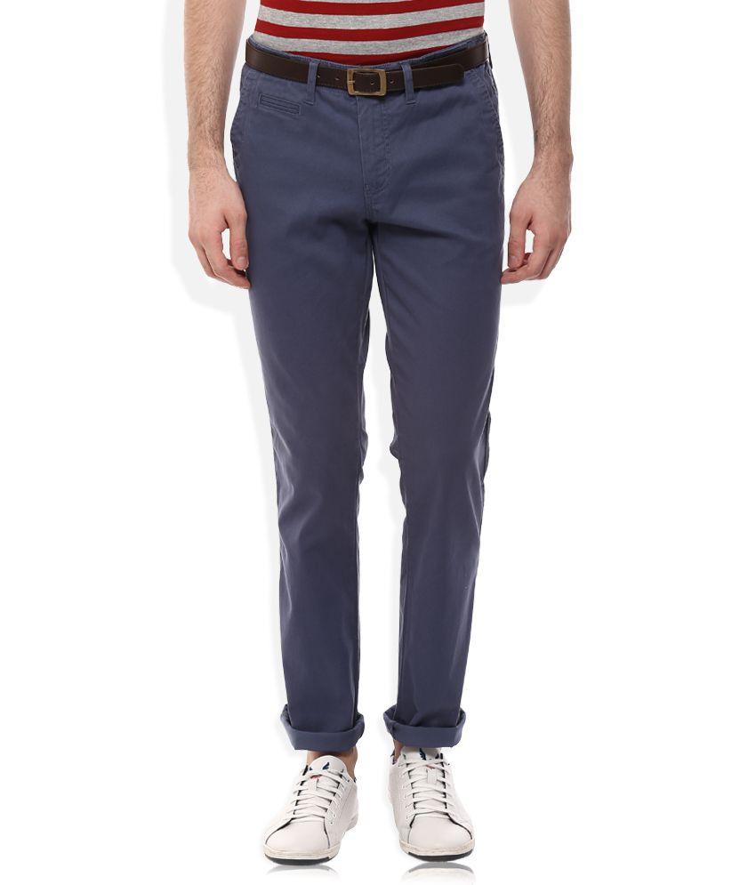 Celio Navy Regular Fit Trousers