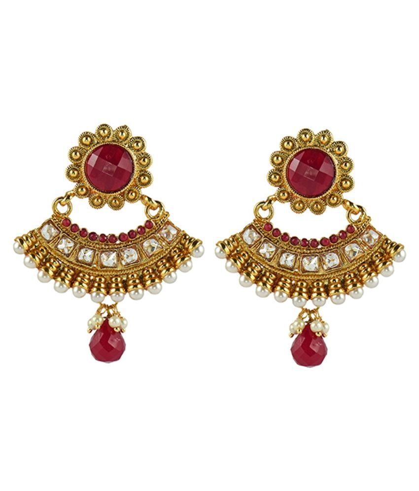 denias alloy gold plating studded red coloured earrings
