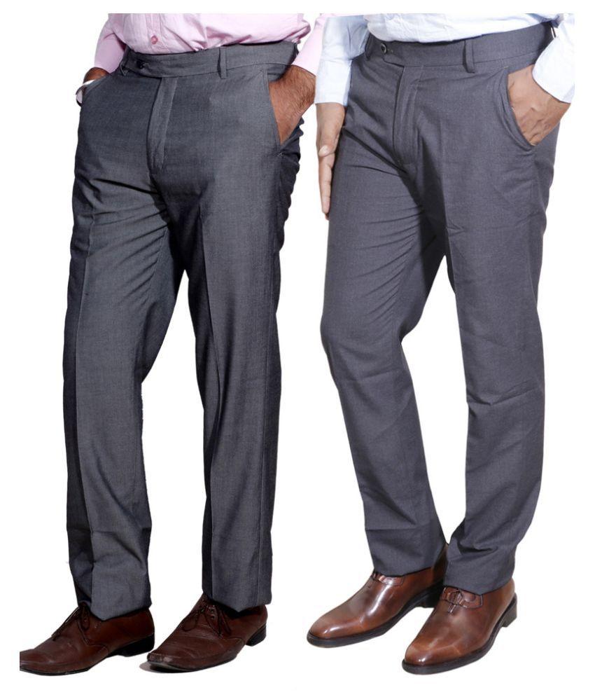 IndiWeaves Grey Regular Fit Flat Trousers Pack of 2