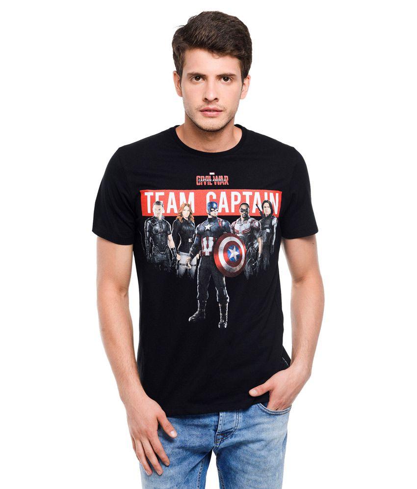 Civil War Black Round Neck T Shirt