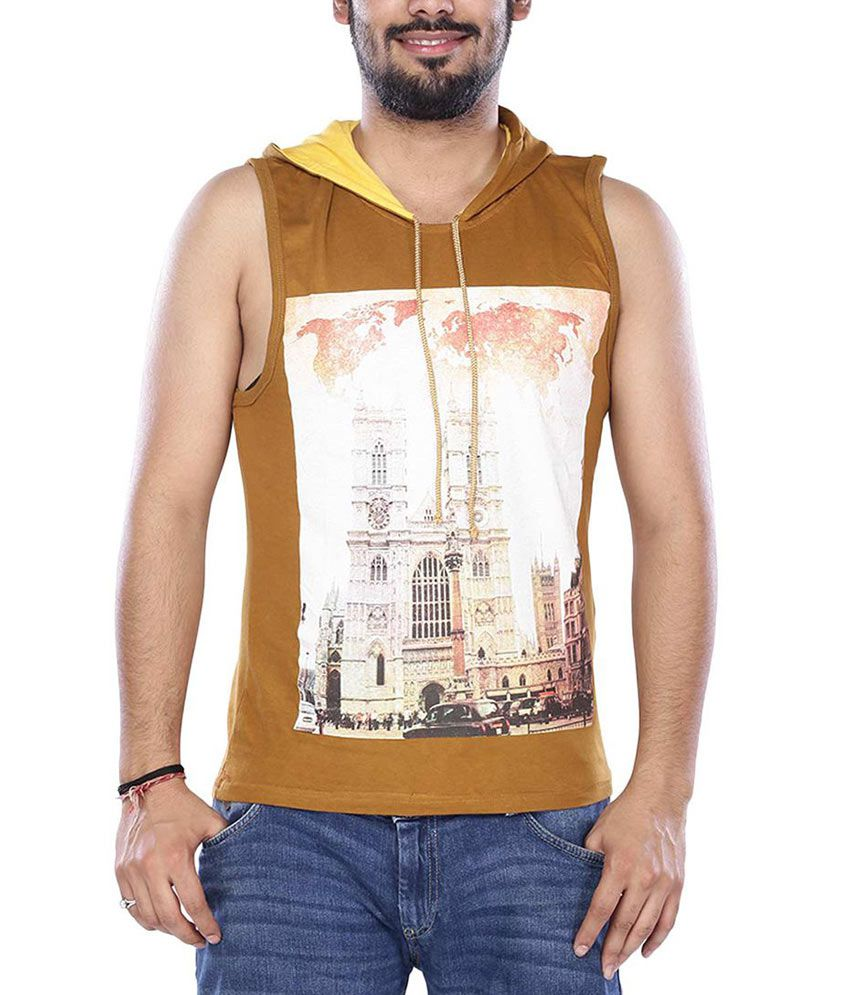 Vishal Gold Half Printed Hooded T-Shirt