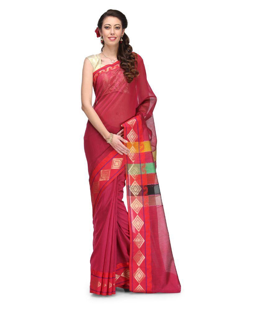 Bunkar Red Chanderi Saree