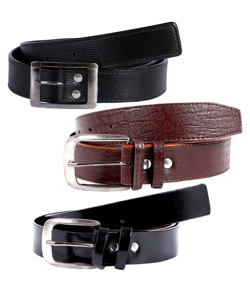 Hardy's Collection Multicolour Pin Buckle Single Belt for Men - Pack of 3