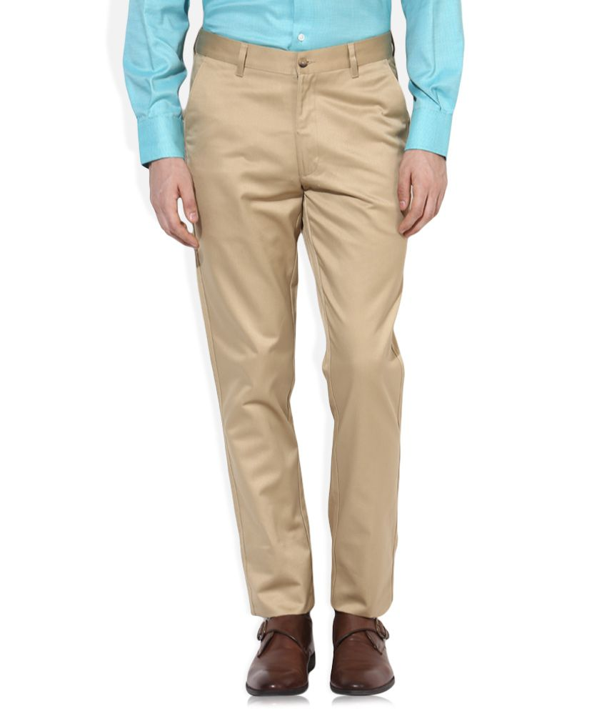 Indigo Nation Khaki Slim Fit Flat Trousers