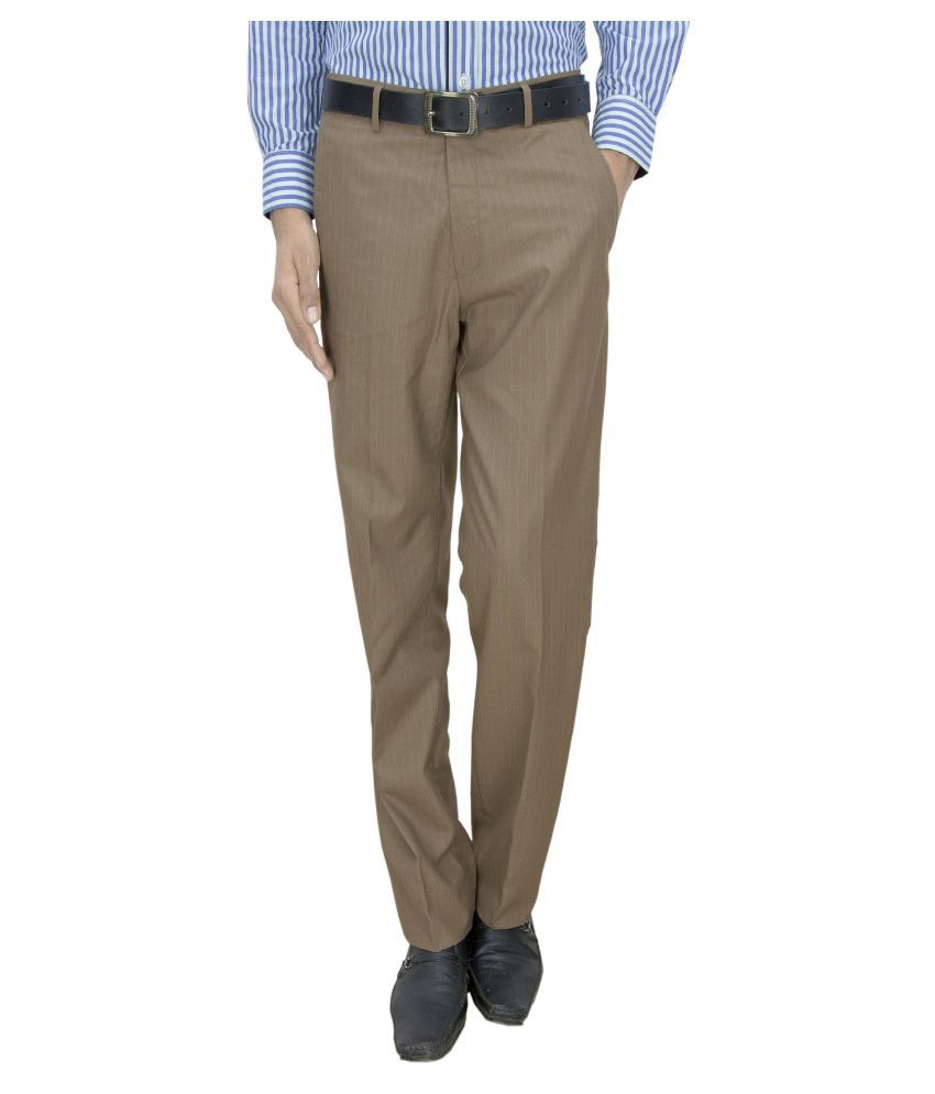 Integration Brown Slim Fit Flat Trousers