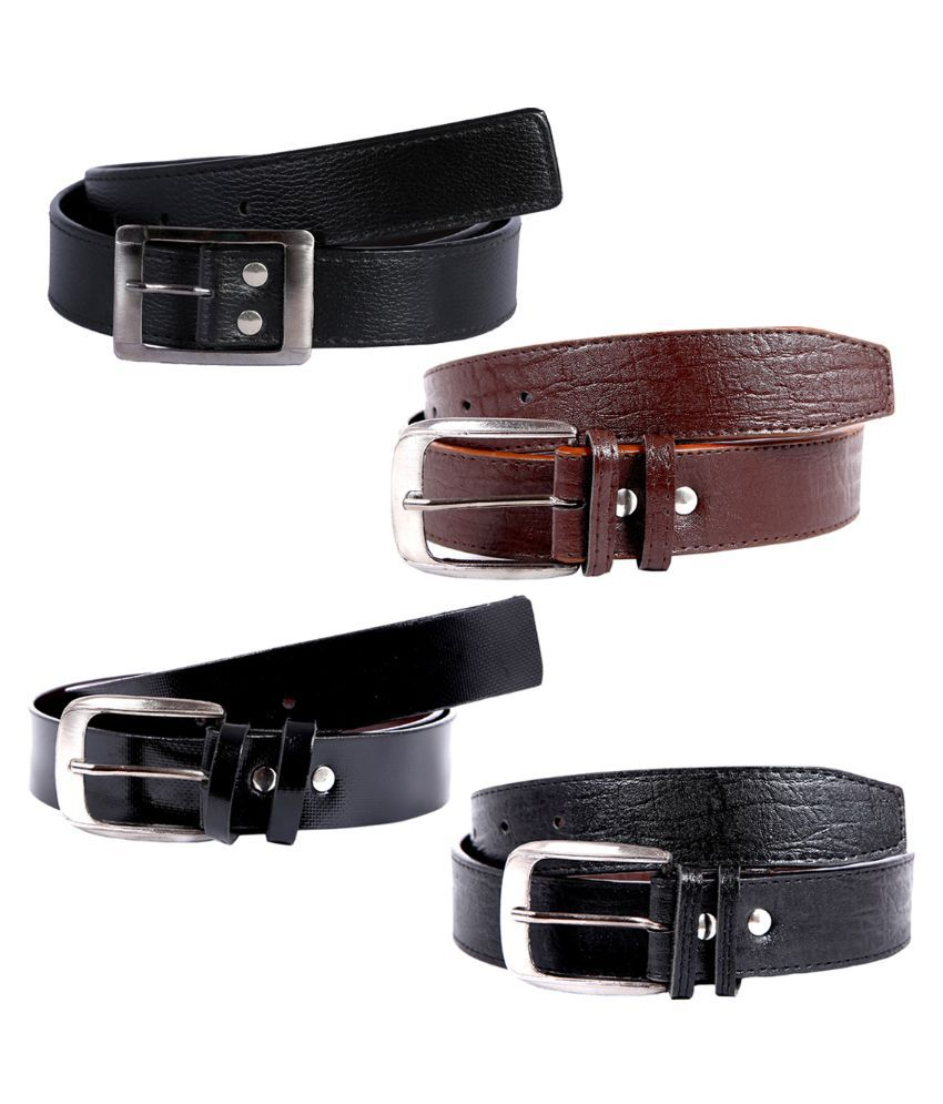 Kritika World Black and Brown Belt for Men - Pack of 4