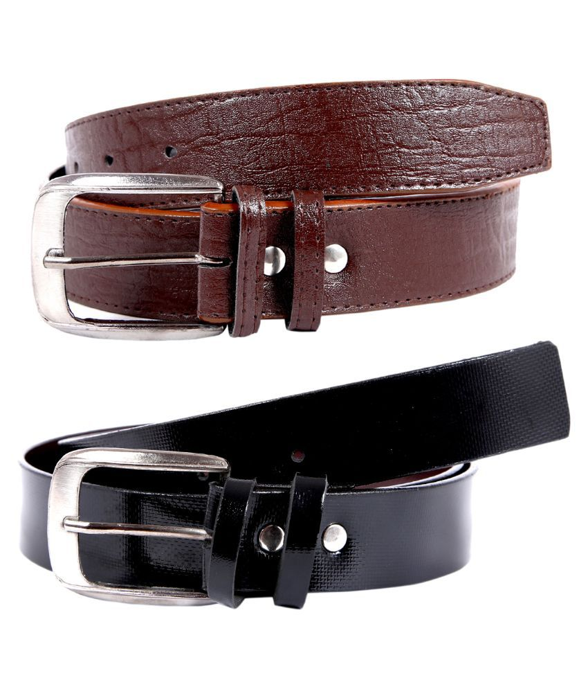 Kritika World Multicolour Single Pin Buckle Belt for Men Pack of 2