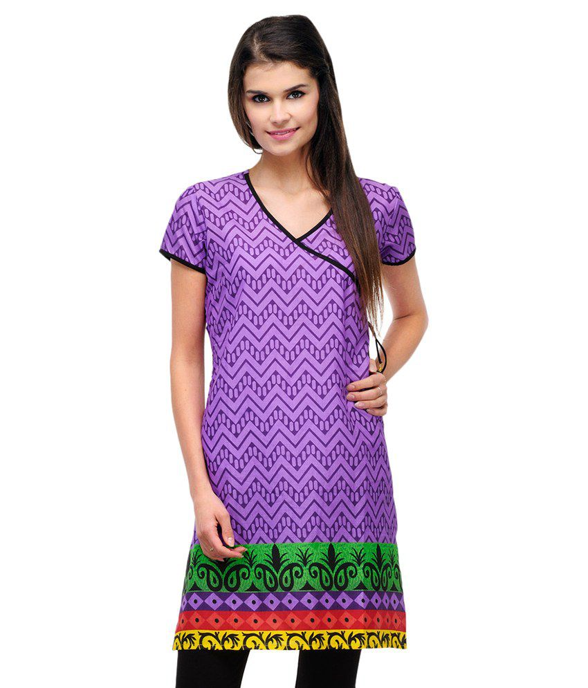 Motif Purple Cotton Straight Kurti
