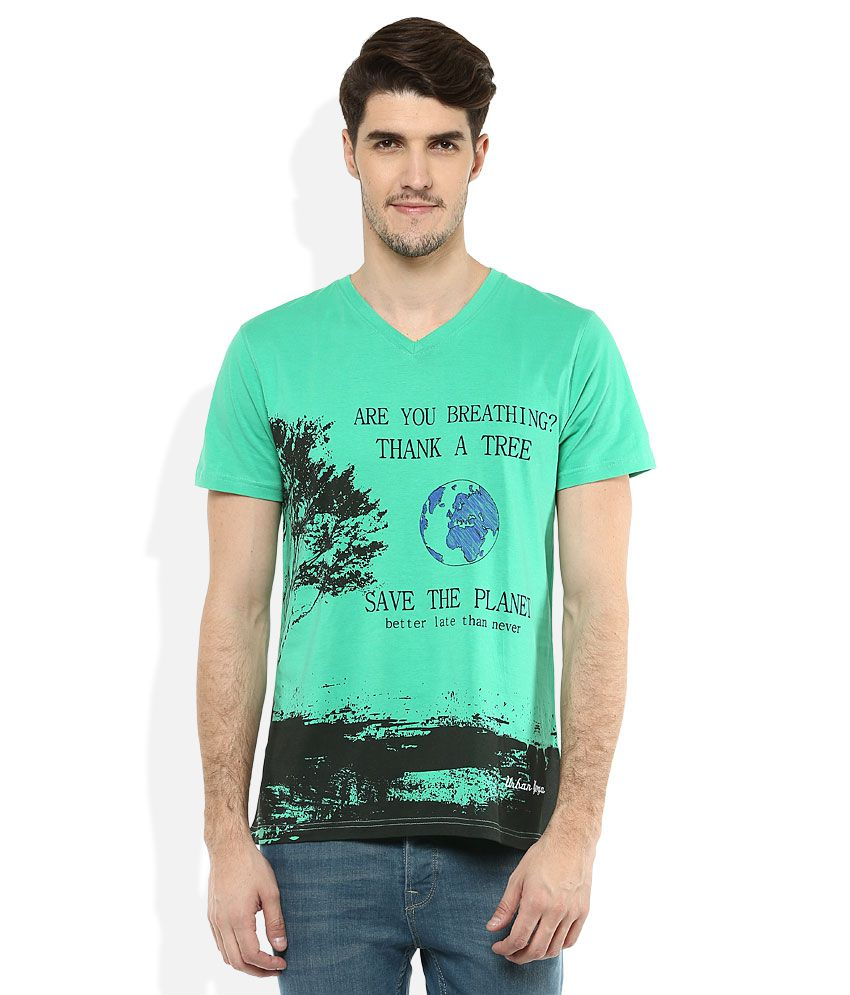 Urban Yoga Green V-Neck Half Sleeves Printed T-Shirt