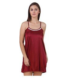 Quick View. You Forever Maroon Satin Nighty ... b1c615864