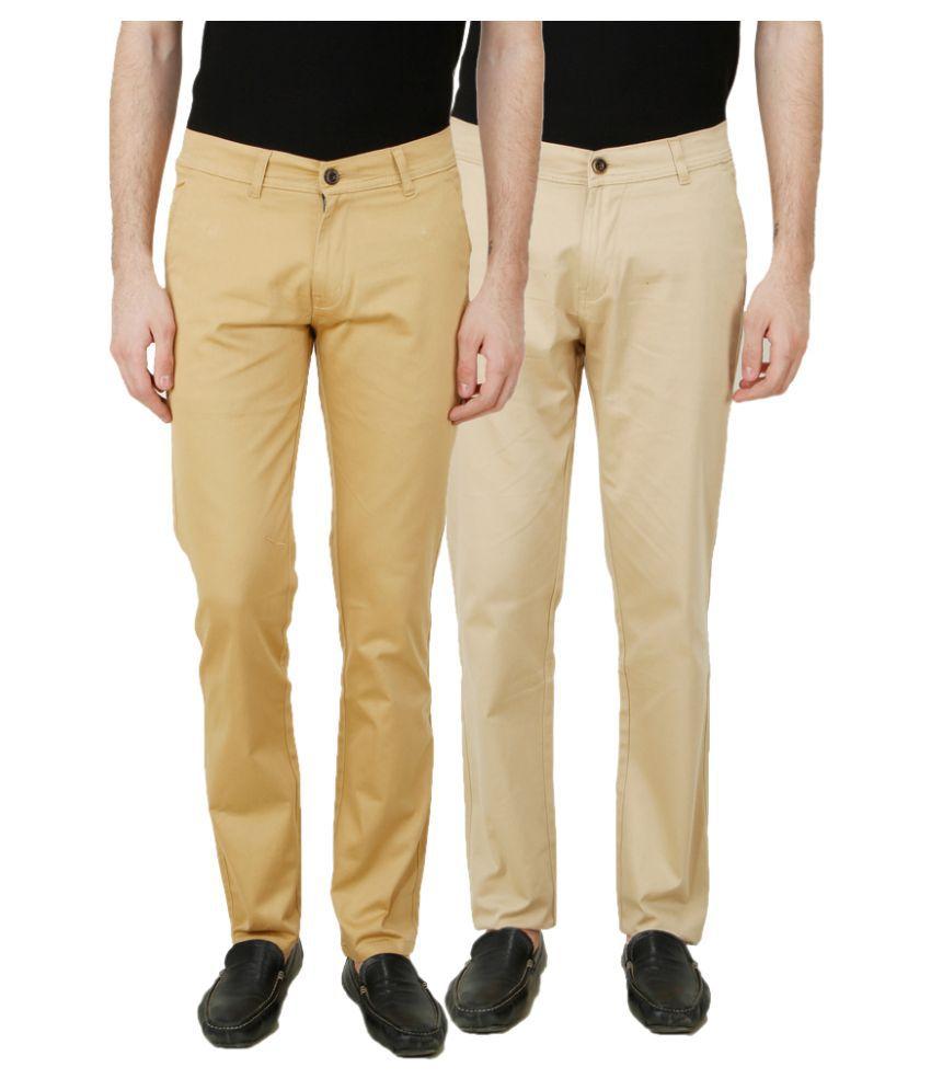 Ansh Fashion Wear Beige Regular Fit Chinos Pack of 2