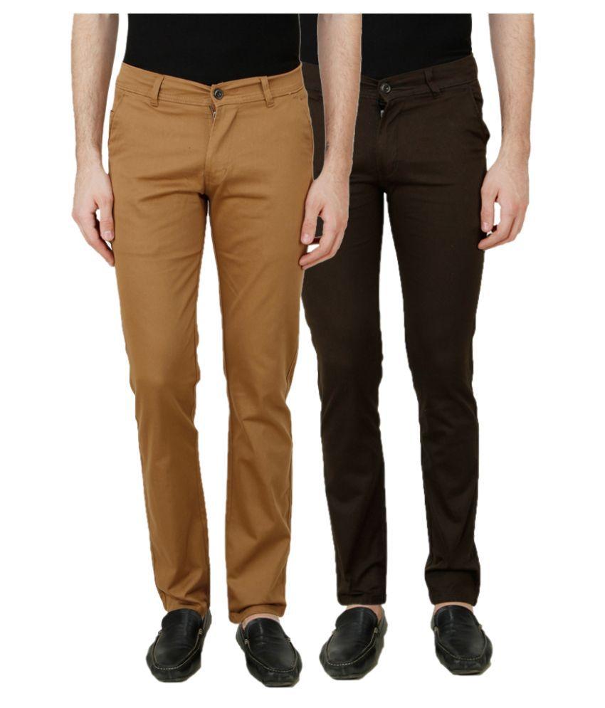 Ansh Fashion Wear Multi Regular Fit Chinos Set of 2