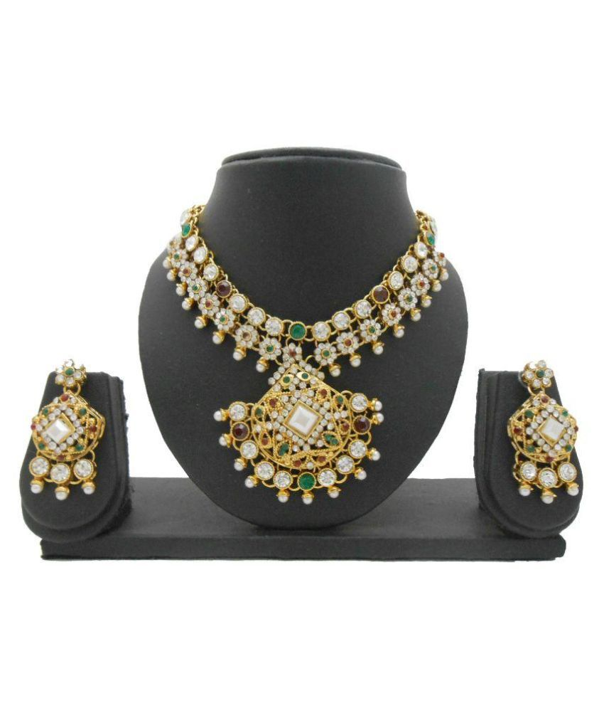 My Design Alloy Gold Plating Studded Multi Coloured Necklaces Set