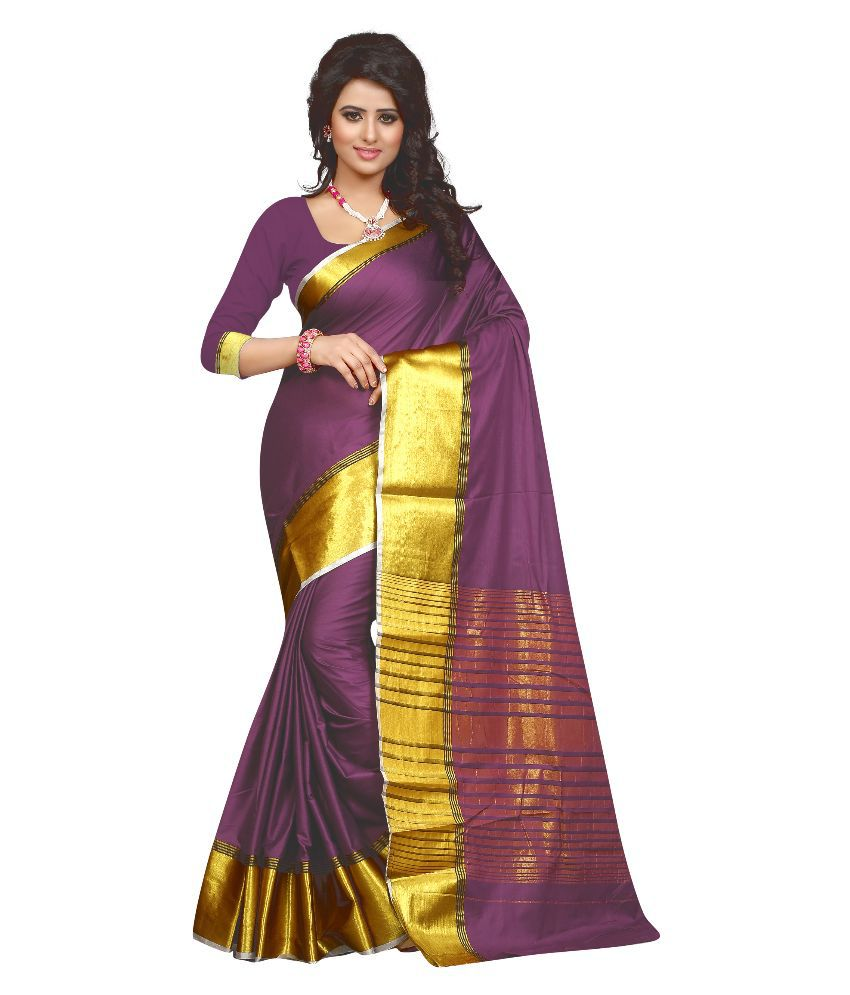 Seemore Yellow and Maroon Cotton Saree