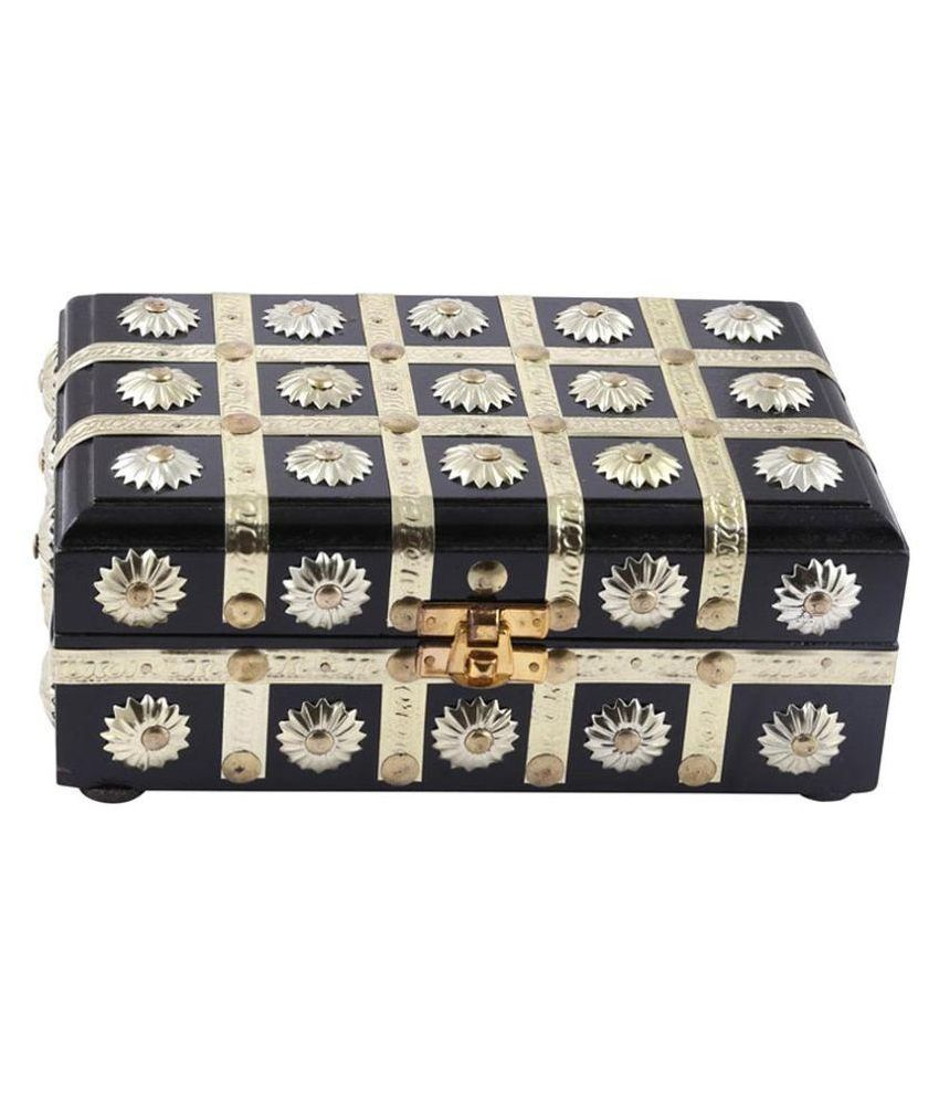 Antiqua V Group Wood Studded Black Coloured Jewellery Box