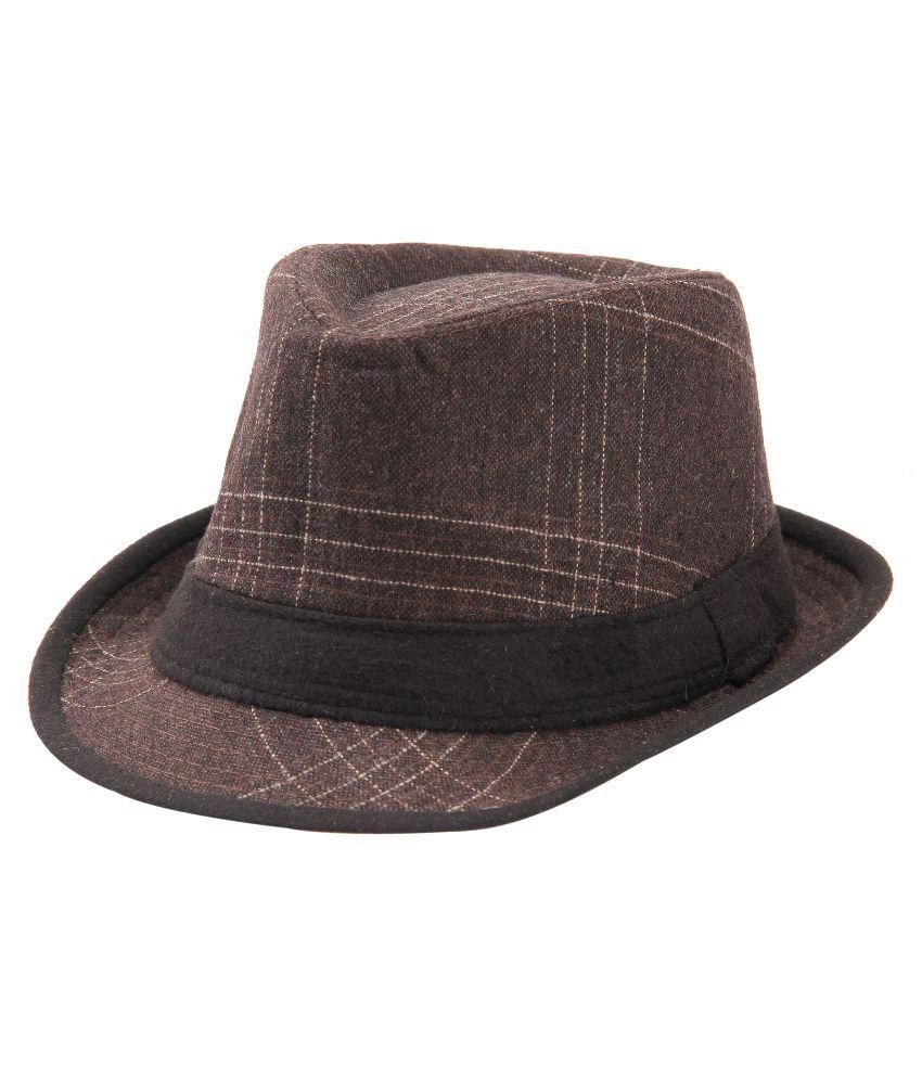 Fabseasons Brown Polyester Fidora Hat for Men
