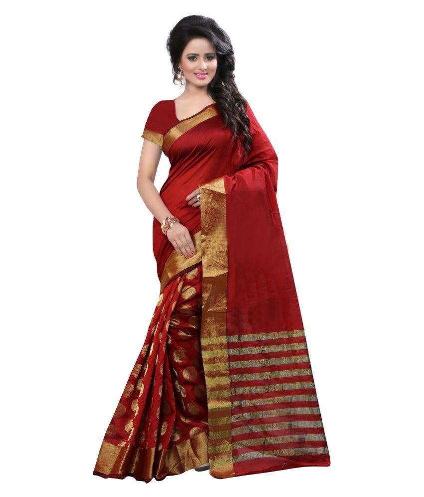 Hacsona Red Silk Saree