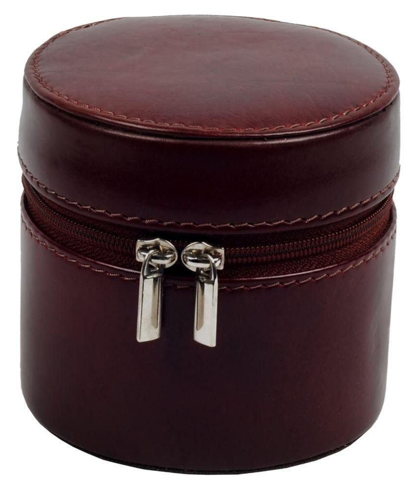 Zint Leather Studded Maroon Coloured Jewellery Box