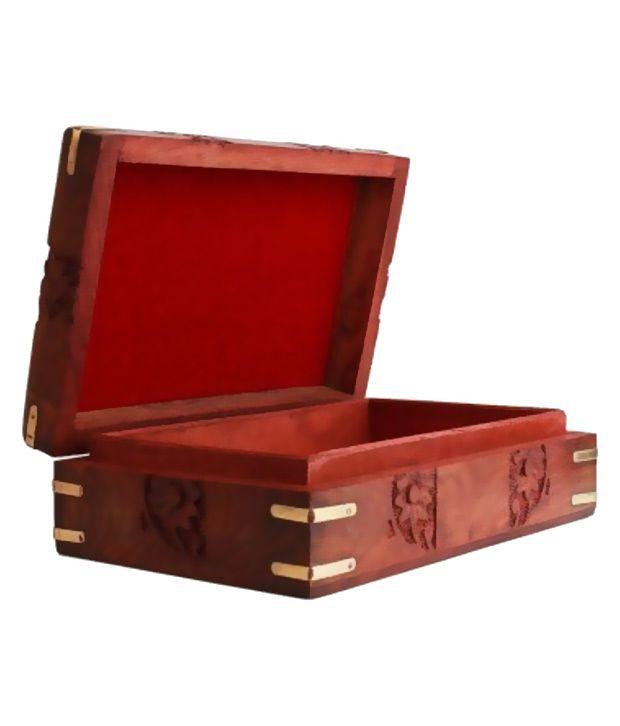 Antiqua V Group Wood Studded Brown Coloured Jewellery Box