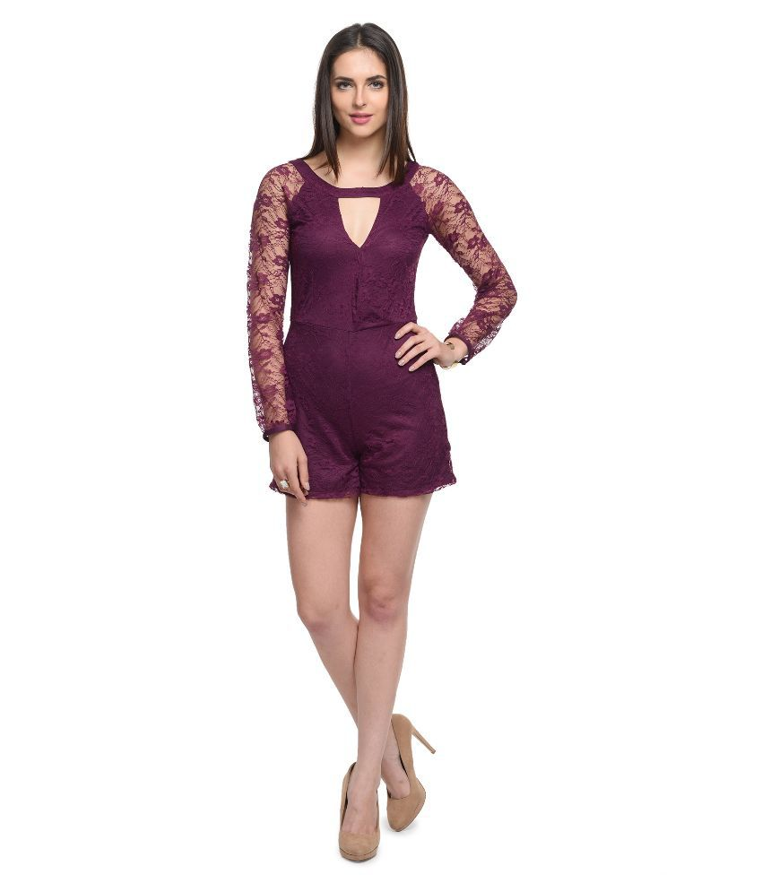 At499 Purple Polyester Jumpsuits