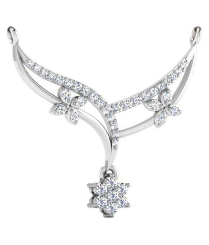 Carat Forever 14Kt  White Gold Diamond Stylish Mangalsutra For Women