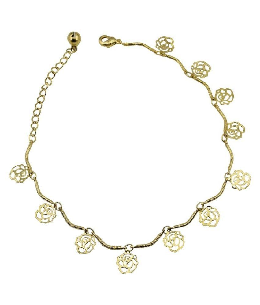 High Trendz Alloy Gold Plating Studded Gold Coloured Single Anklet