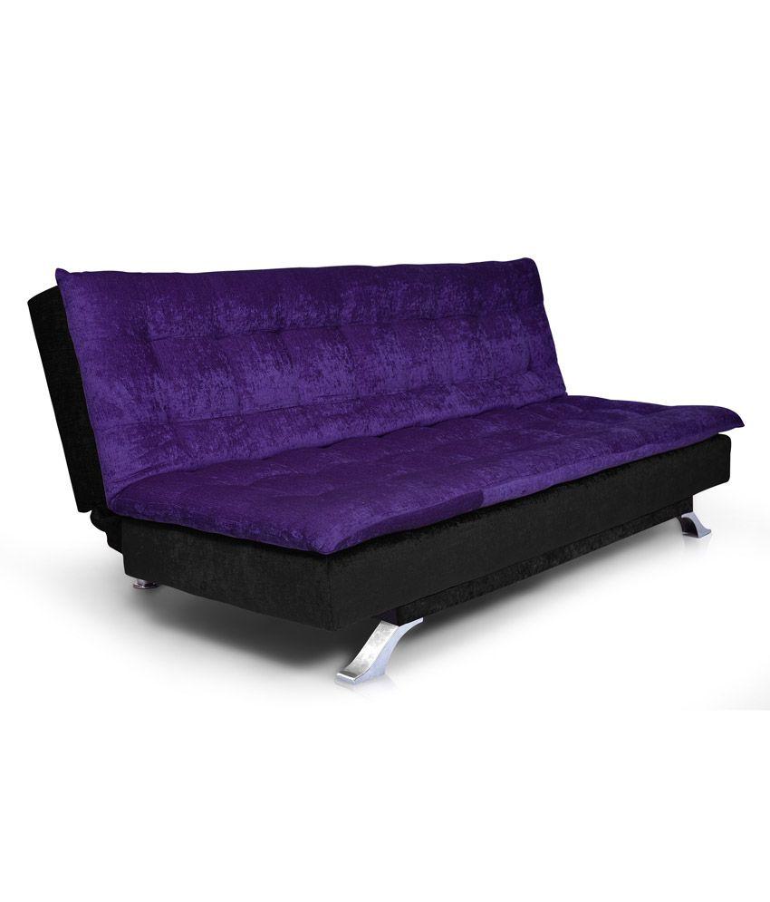 e6cdca4e241 Neptune 3 Seater Solid Wood Sofa Cum Bed - Black   Purple - Buy Neptune 3  Seater Solid Wood Sofa Cum Bed - Black   Purple Online at Best Prices in  India on ...