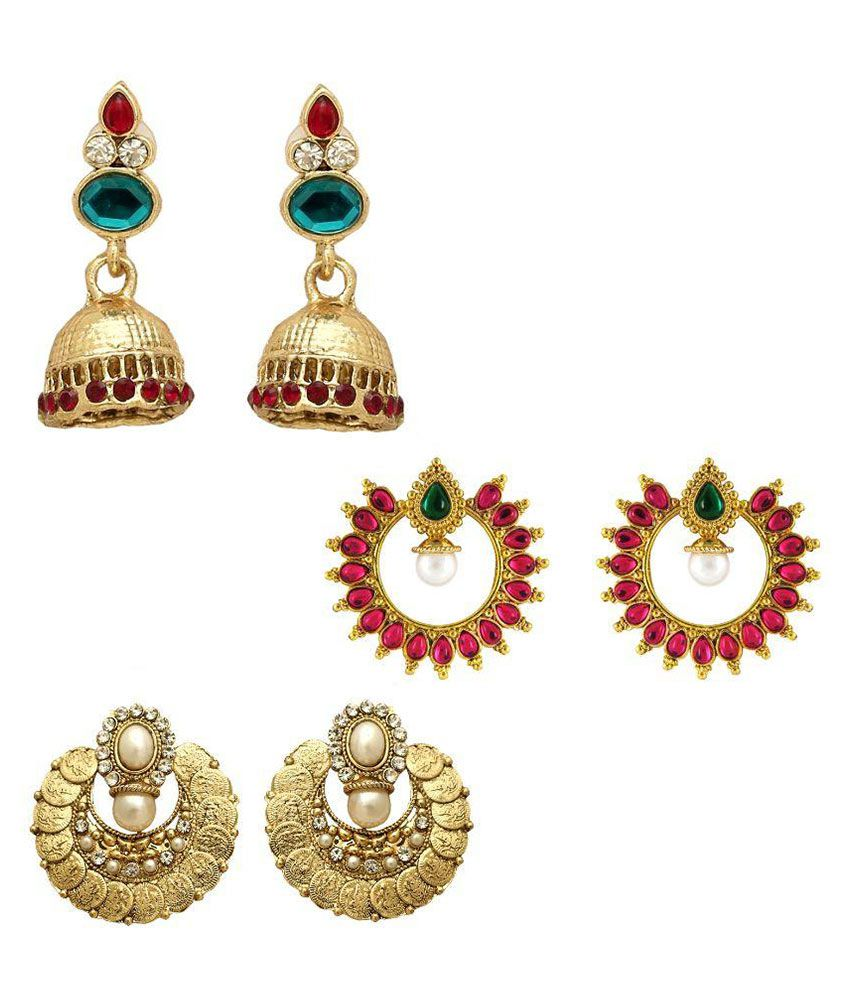 Om Jewells Alloy Gold Plating Crystal Studded Multi Coloured Earrings - Pack Of 3