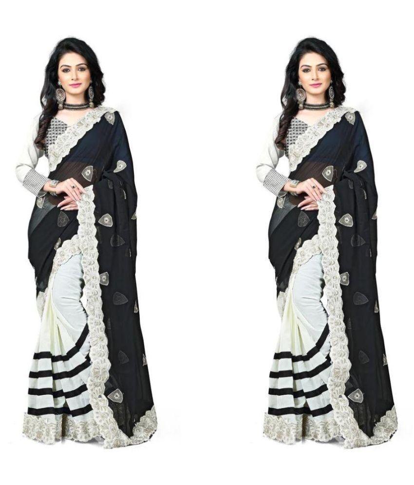 Raahi Fashion Black Chiffon Saree Combos
