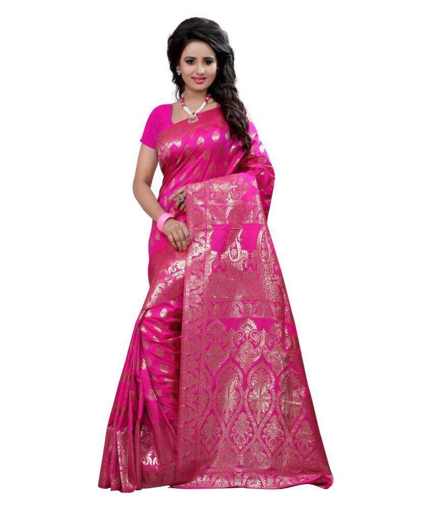 Seemore Pink Art Silk Saree