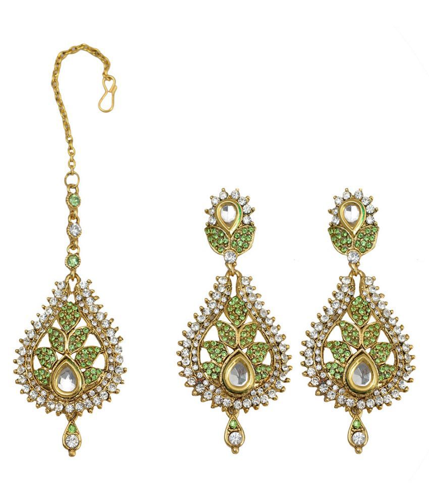 Taj Pearl Brass Oxidised Crystal Studded Green Coloured Earrings Combo
