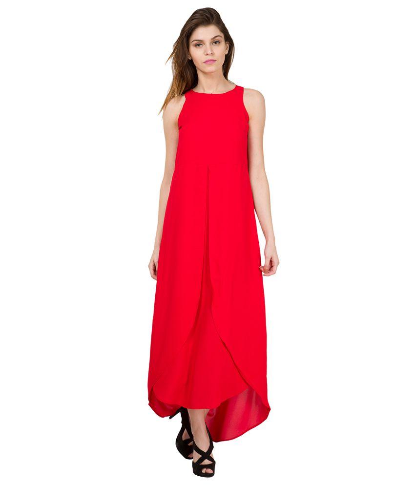 dd365fdb4 Tokyo Talkies Red Solid Layered Maxi Dress - Buy Tokyo Talkies Red ...