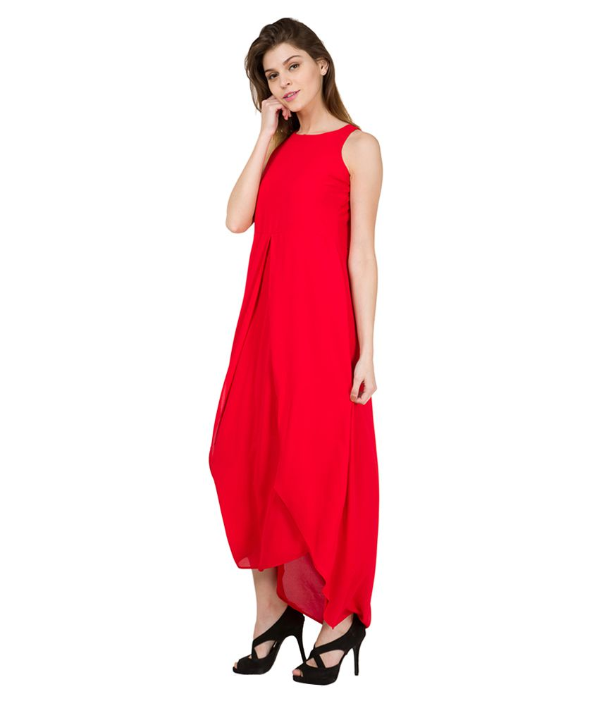 a01222d00a7 Tokyo Talkies Red Solid Layered Maxi Dress