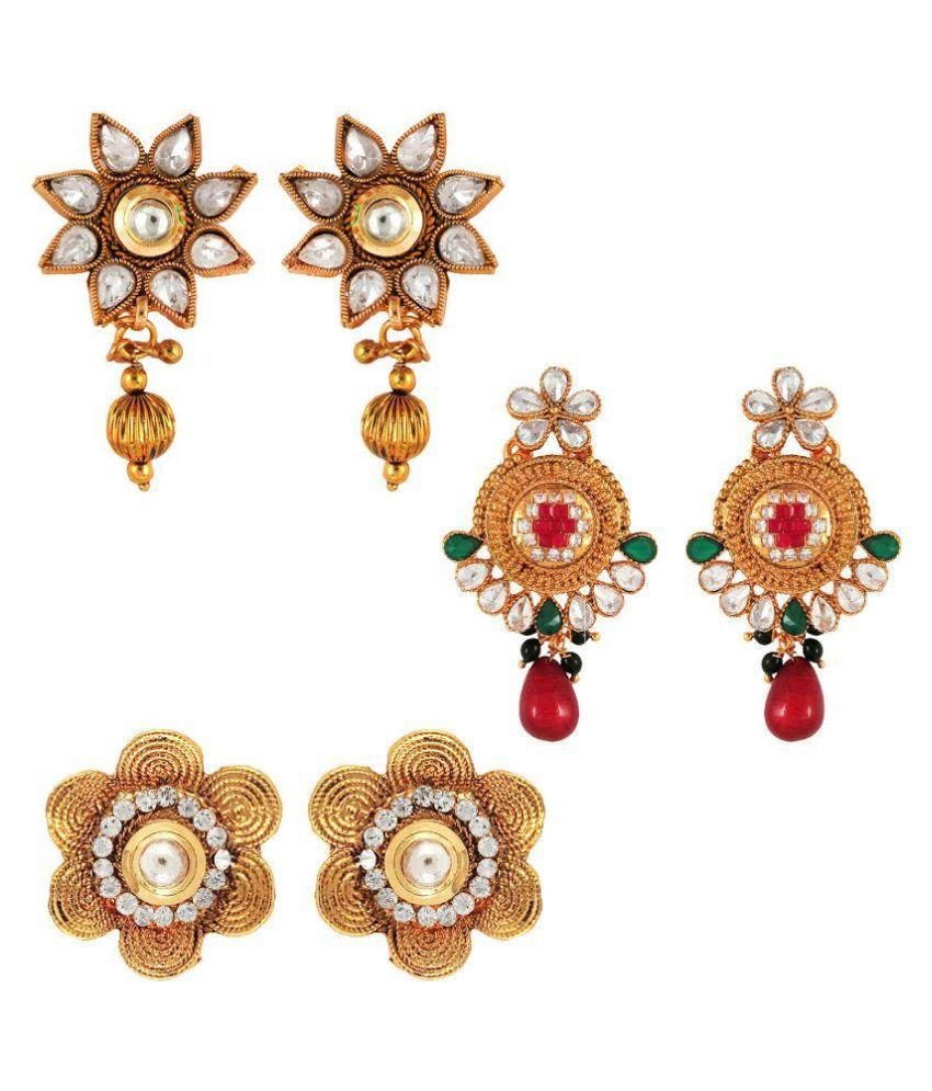 Om Jewells Alloy Gold Plating Crystal Studded Golden Coloured Earrings Combo