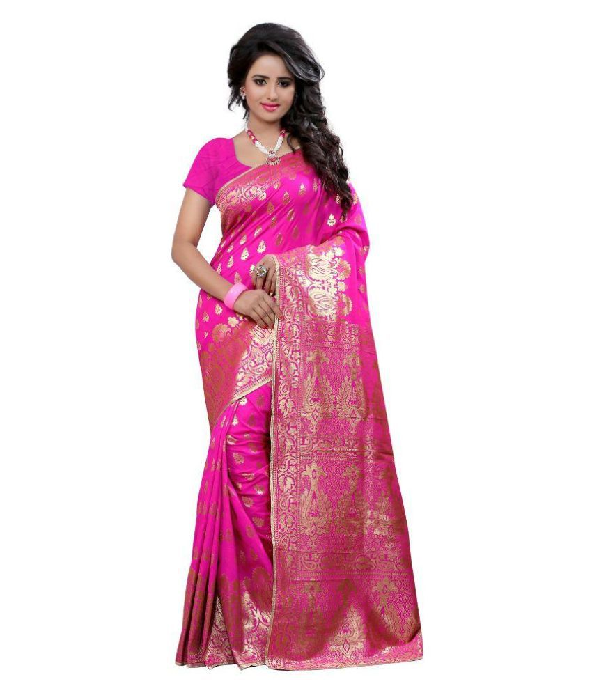 Seemore Red and Pink Art Silk Saree