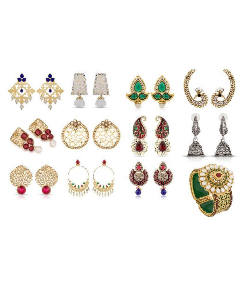 The Luxor Alloy Studded Multi Coloured Earrings Combo