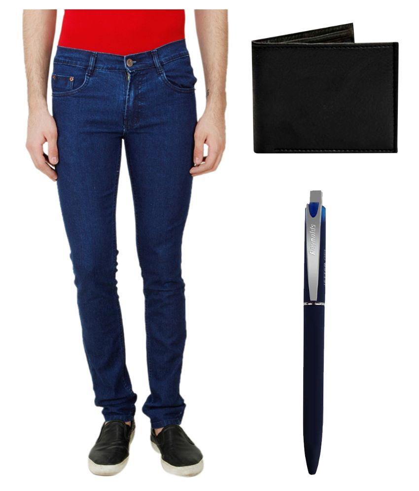 Ansh Fashion Wear Blue Regular Fit Solid Jeans with Wallet and Pen