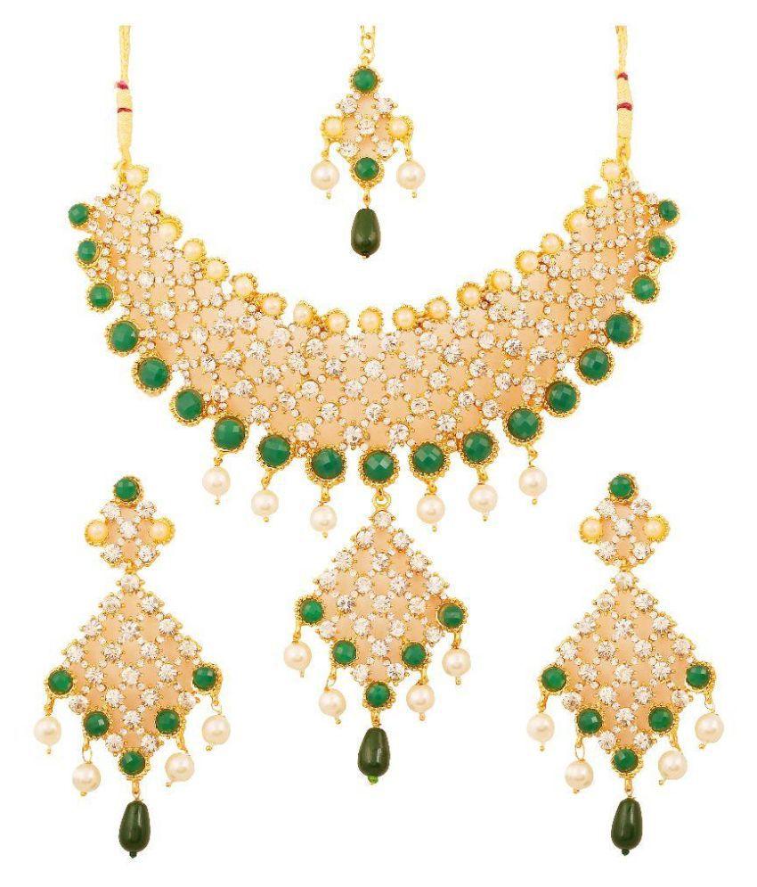 Touchstone Alloy Gold Plating Australian Diamond Studded Gold Coloured Necklaces Set