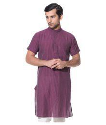 Abhiyuthan Purple Cotton Kurta