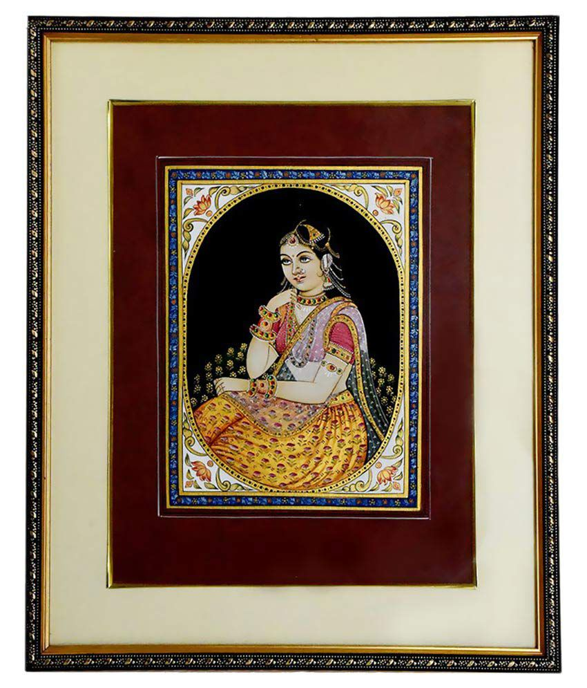 JS Jalwal Lady Portrait Paper Hand Paintings With Frame Single Piece
