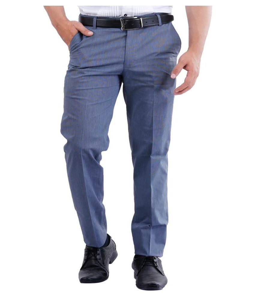 La Mode Blue Slim Fit Flat Trousers