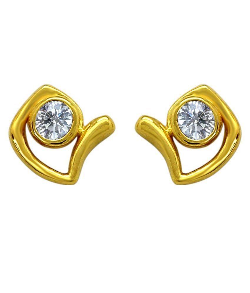 Mahi Alloy 24 kt Gold Plating Cubiz Zirconia Studded Gold Coloured Earrings